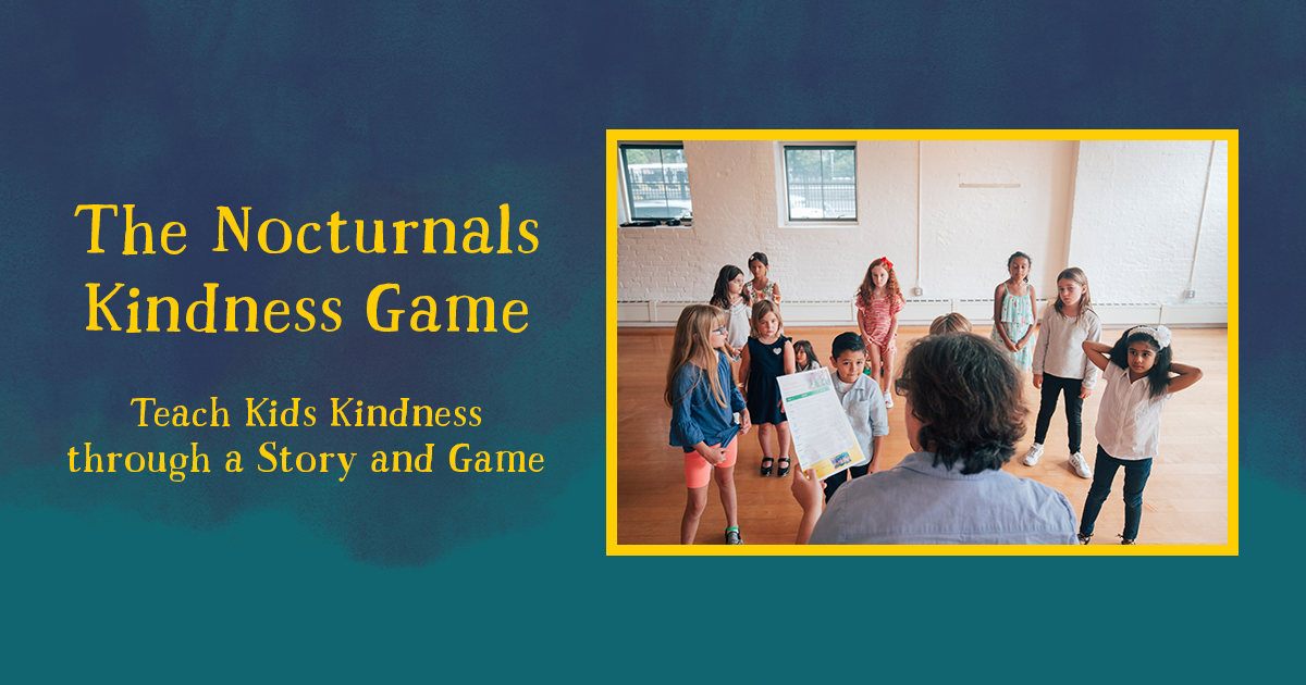 Blue Background with yellow text reading The Nocturnals Kindness Game, Teach Kids Kindness through a story and game. Text is next to a photo of a librarian reading the instructions to 8 children.